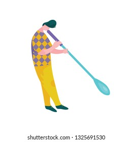 Man Blowing Glass Vessel, Male Glassblower Character, Hobby or Profession Vector Illustration