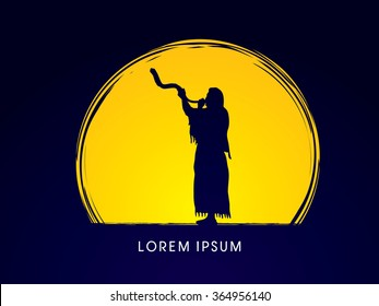 A Man Blowing the shofar  , designed on moonlight background graphic vector.