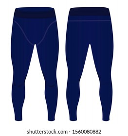 Man blue elastic tight pants. vector
