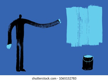 Man with Blue Paint Hands, Artist Painter, Brushstroke effect, Individuality Idea, Imagination Concept, Arty People, Expressing Yourself, Mark Making, Creativity, Change