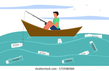 A man in a boat with a fishing rod, where instead of fish, plastic bottles with skeletons, a vector illustration on the theme of the environmental problem of ocean pollution
