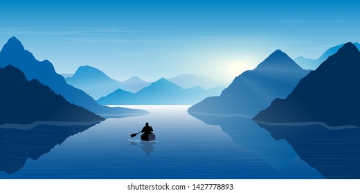 A man in a boat looks at the mountains. Mountain river. Landscape. Morning in the mountains. Tourism, sport and travelling. Vector  design