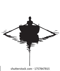 man in a boat on a white background