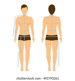 Man Body Front and Back for Measurement. Flat Design Style. Vector illustration of Size Chart, Measurement Diagram of Male Body Measurements for Cothing Design