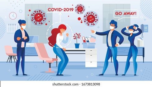 Man Boss Chief Pitch out Sick Woman Employee Infected with Covid19 Virus Suffering from Cough viral Symptom. Office Workplace and People in Facial Mask. Coronavirus Infection Prevention at Work