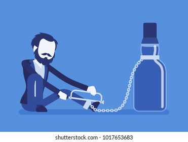 Man with bottle in alcohol dependency. Young frustrated person with addiction to alcoholic drink, unhealthy dangerous abuse and habit, unable to get rid. Vector illustration with faceless characters