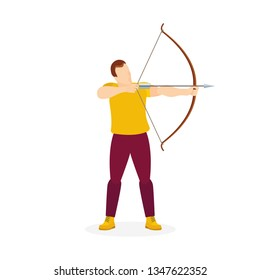 Man with bow and arrow. Male holding bow and arrow aiming to shoot. Archer with bow and arrow vector illustration. Part of set.