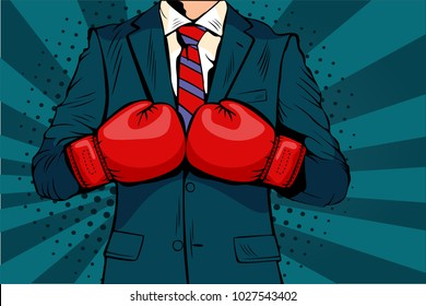Man in boxing gloves vector illustration in comic pop art style. Businessman ready to fight and protect his business concept. Fight club. Boxing and glove, boxer strength.