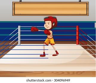 Man in boxing ring illustration