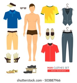Man or Boy Clothes Set like model doll. Vector Flat Cartoon Illustration of the Young Hipster outfit icon set. Paper doll template with the Shoes and jacket, t-shirts, hat.