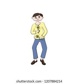 man (boy) playing maracas. Vector color illustration.