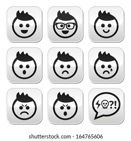 Man or boy with spiky hair faces buttons set