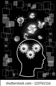 Man and brain vector