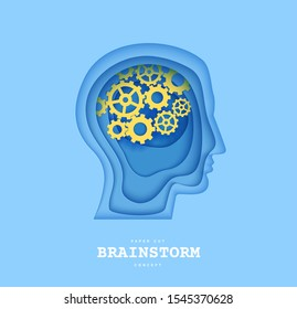 Man brainstorm head in paper cut style. Silhouette of layered human with think gears in brain. Origami skull papercut profile with idea sign on the depth of layers cardboard. Creative vector concept.