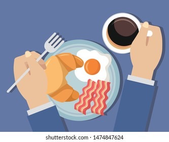 man breakfast cooking coffee fried eggs croissant bacon waffle syrup vector illustration