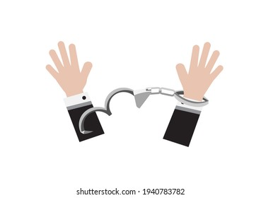 a man breaking shackle or handcuff to freedom vector on white background