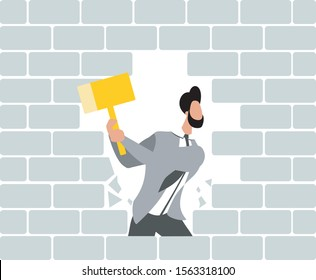 Man breaks the wall. Man destroys brick wall with hammers. Concept flat design