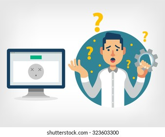 Man with broken computer. Vector flat illustration