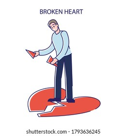 Man with broken heart. Sad male after break up of love relationship or divorce depressed and feeling pain. Heartbroken boyfriend weak and unhappy. Linear vector illustration