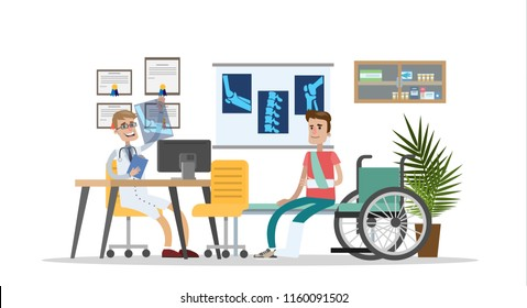 Man with broken leg and arm on the consultation with trauma surgeon. Doctor looking at the X-ray picture. Medical treatment and healthcare. Isolated vector flat illustration