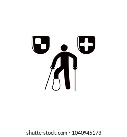 a man with a broken leg icon. Elements of insurance icon. Premium quality graphic design. Signs and symbol collection icon for websites, web design, mobile app, info graphics on white background