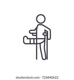 man with broken leg,gypsum foot crutch vector line icon, sign, illustration on background, editable strokes