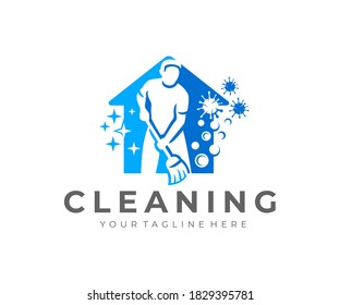Man with broom, house cleaning and house cleanup service, logo design. Sanitizing, disinfecting, virus, hygiene and cleanliness, vector design and illustration