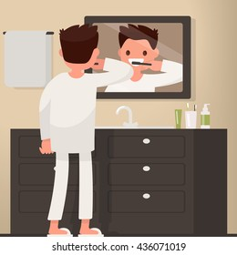 Man brushing his teeth in the bathroom. Vector illustration of a flat design
