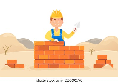 A man builder with a trowel in his hand builds a brick wall. Against the backdrop of snowdrifts and the formation of material. Housing construction. Flat composition, isolated on white background