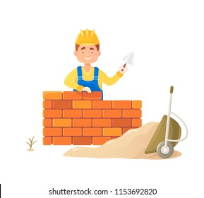 A man builder with a trowel in his hand builds a brick wall. Against a wheelbarrow with scattered sand. Flat composition, isolated on white background
