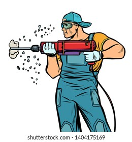man Builder worker drills puncher wall. Comic cartoon pop art retro illustration drawing