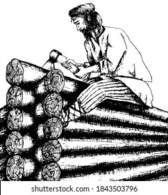 A man is building a hut, an ax in his hands. History, Russian folklore.