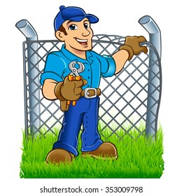 Man building wire fence
