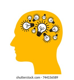Man with bulb and lightbulb inside his head. Creative and innovative person with ideas, inspiration, imagination and progressive thinking. Vector illustration of character with brilliant mind