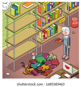 Man buried under books, woman laughing at him, library scene with book shelves (vector illustration, isometric style)
