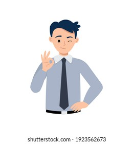 Man in business attire showing ok hand gesture as symbol of agreement or success. Flat vector design
