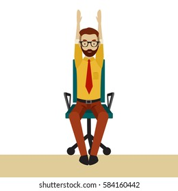 Man in business clothes is doing exercises for back on the office chair. Businessman in healthy hands up pose. Vector flat illustration.