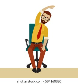 Man in business clothes is doing exercises for back on the office chair. Businessman in healthy tilt arm and body to the side pose. Vector flat illustration.