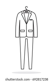 Man business style suit outline icon. Vector illustration.