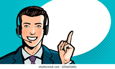 Man in business suit or businessman with headset says. Call center, support, service concept. Cartoon vector illustration