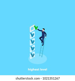 a man in a business suit climbed the stairs to put a tick in an empty field, an isometric image