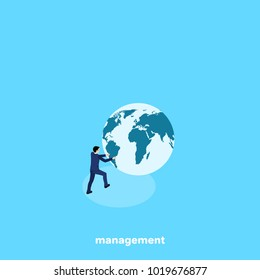man in a business suit is kicking the globe, isometric image