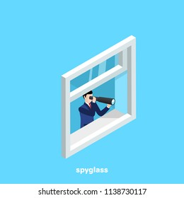 a man in a business suit looks through a telescope in an open window, an isometric image