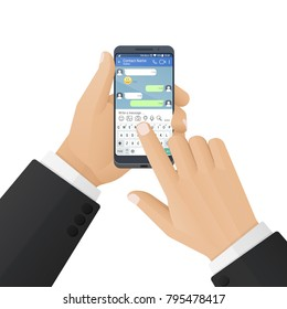 Man in a business suit prints a message in an instant messaging application. Vector illustration isolated on a white background