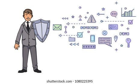 Man in business suit protecting himself with a shield from digital and network threats . Personal data protection. GDPR, RGPD. Concept vector illustration on white background. Flat style. Horizontal.