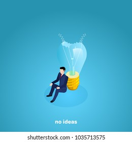 a man in a business suit sits on the floor leaning on a broken light bulb, an isometric image
