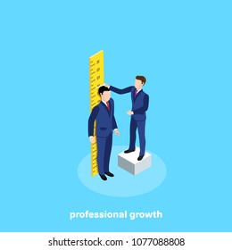 a man in a business suit stands at the ruler and the second measures his growth, an isometric image