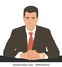 a man in a business suit at the table. Frontal view. Flat vector illustration.