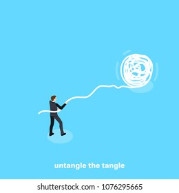 a man in a business suit trying to untangle a ball of threads, an isometric image