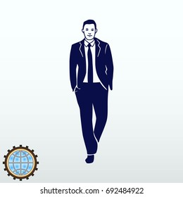 A man in a business suit walks with a calm gait. Leader. Illustration of businessman.